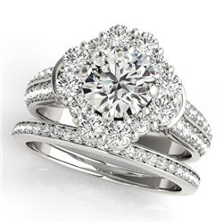 2.38 CTW Certified VS/SI Diamond 2Pc Wedding Set Solitaire Halo 14K White Gold - REF-448A4X - 31106