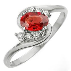 0.70 CTW Red Sapphire & Diamond Ring 18K White Gold - REF-31H8A - 10255