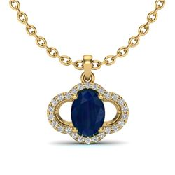 2 CTW Sapphire & Micro Pave VS/SI Diamond Necklace 10K Yellow Gold - REF-30Y2K - 20642