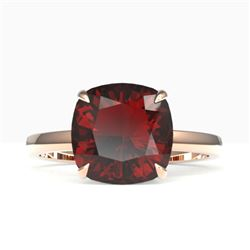 6 CTW Cushion Cut Garnet Inspired Solitaire Engagement Ring 14K Rose Gold - REF-30W5F - 22182