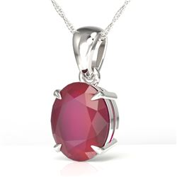 3.50 CTW Ruby Designer Inspired Solitaire Necklace 18K White Gold - REF-33A3X - 21878