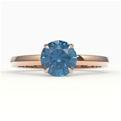 2 CTW London Blue Topaz Inspired Solitaire Engagement Ring 14K Rose Gold - REF-25M3H - 22228