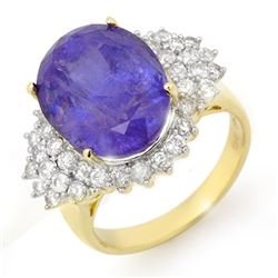 11.25 CTW Tanzanite & Diamond Ring 14K Yellow Gold - REF-389A3X - 14516