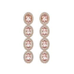 6.09 CTW Morganite & Diamond Halo Earrings 10K Rose Gold - REF-130X8T - 40515