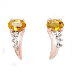 0.80 CTW Yellow Sapphire & Diamond Earrings 14K Rose Gold - REF-19F3N - 13916