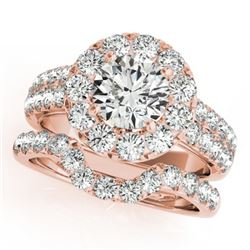 2.3 CTW Certified VS/SI Diamond 2Pc Wedding Set Solitaire Halo 14K Rose Gold - REF-270W9F - 30886