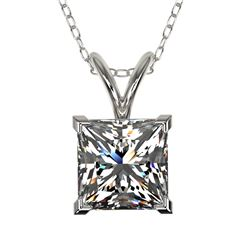 1.25 CTW Certified VS/SI Quality Princess Diamond Necklace 10K White Gold - REF-423H3A - 33214
