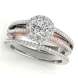 0.92 CTW Certified VS/SI Diamond 2Pc Set Solitaire Halo 14K White & Rose Gold - REF-121W8F - 31029