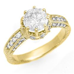 1.75 CTW Certified VS/SI Diamond Ring 14K Yellow Gold - REF-556Y5K - 13468