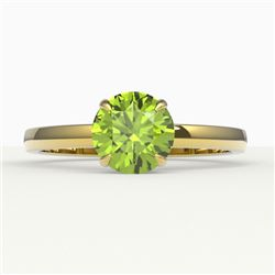 2 CTW Peridot Designer Inspired Solitaire Engagement Ring 18K Yellow Gold - REF-36T2M - 22234