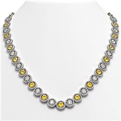 35.54 CTW Canary Yellow & White Diamond Designer Necklace 18K White Gold - REF-5036X2T - 42686