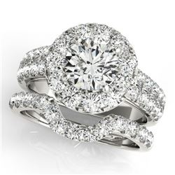 2.06 CTW Certified VS/SI Diamond 2Pc Wedding Set Solitaire Halo 14K White Gold - REF-197T8M - 30882