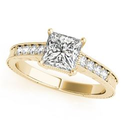 0.95 CTW Certified VS/SI Princess Diamond Solitaire Antique Ring 18K Yellow Gold - REF-222A8X - 2723