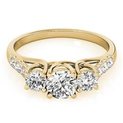 1.33 CTW Certified VS/SI Diamond 3 Stone Ring 18K Yellow Gold - REF-220N8Y - 28085