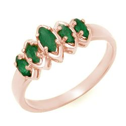 0.50 CTW Emerald Ring 14K Rose Gold - REF-21A5X - 13142