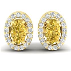 0.75 CTW Citrine & Micro Pave VS/SI Diamond Earrings Halo 18K Yellow Gold - REF-34F5N - 21184
