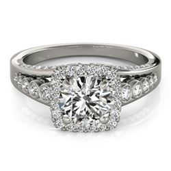 1.75 CTW Certified VS/SI Diamond Solitaire Halo Ring 18K White Gold - REF-424F2N - 26943