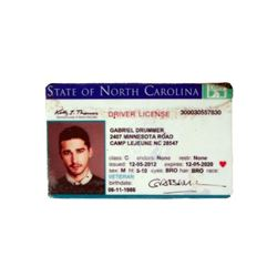 Man Down Gabriel Drummer (Shia LaBeouf)NC Driver's License Movie Props