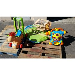 LOT OF KIDS TOYS ROCKING HORSE ETC