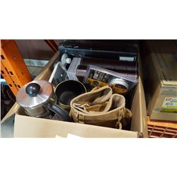 BOX OF NEW PHOTO ALBUMS TOOL BELTS ETC