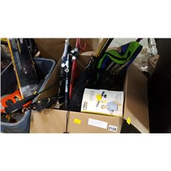 BOX OF NEW SPORTS EQUIPMENT AND GLOW IN THE DARK BASKETBALL ETC