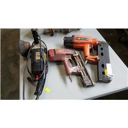 CRAFTSMAN ANGLE GRINDER AND 2 AIR NAILERS