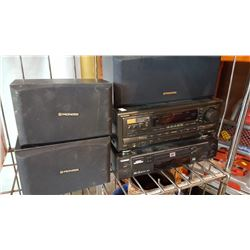TECHNICS SPEAKERS AND RECEIVER AND DVD PLAYER