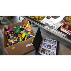 BOX OF VARIOUS COLLECTIBLE TOYS AND LOT OF BASEBALL CARDS