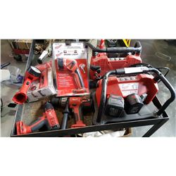 MILWAUKEE CORDLESS TOOLS WITH 5 BATTERIES AND 2 BATTERY CHARGERS