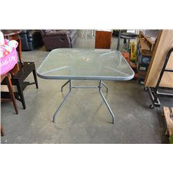 SQUARE GLASS TOP PATIO TABLE