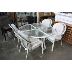 ROUND GLASS PATIO TABLE AND 4 ALUMINUM CHAIRS