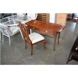 2 DRAWER MAHOGANY INLAID DESK WITH DROP LEAF AND CHAIR