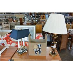 2 TABLE LAMPS AND PAINTED PINE BOX