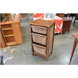 THREE DRAWER WICKER AND WOOD CHEST