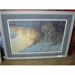ROBERT BATEMAN FRAMED LEP SIBERIAN TIGER 2503/4500 44 INCHES BY 32 INCHES WITH PAPERWORK