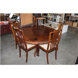 ROUND ANTIQUE DINING TABLE W/ 2 LEAFS AND 5 DINING CHAIRS