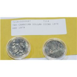TWO CANADIAN DOLLAR COINS 1978 AND 1979