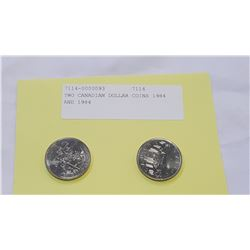 TWO CANADIAN DOLLAR COINS 1984 AND 1984