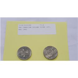 TWO CANADIAN DOLLAR COINS 1971 AND 1982