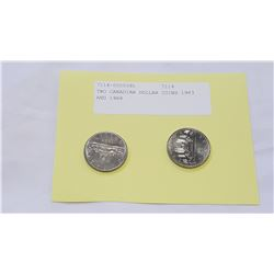 TWO CANADIAN DOLLAR COINS 1983 AND 1968