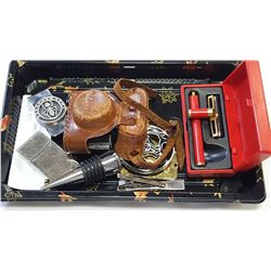 TRAY WITH COLLECTIBLE ANTIQUE MINIATURE CAMERA PORTAABLE SHAVER ETC