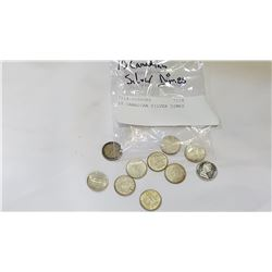 10 CANADIAN SILVER DIMES