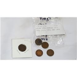 INDIAN HEAD PENNIES 1815, 1902, 1903, 1905, AND 1906