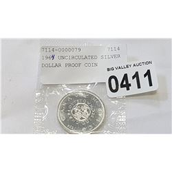 1964 UNCIRCULATED SILVER DOLLAR PROOF COIN