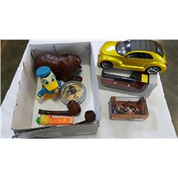BOX OF COLLECTIBLE PIPES FIGURES AND TWO DIE CAST VEHICLES