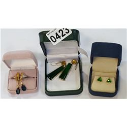 THREE PAIR OF ESTATE EARRINGS