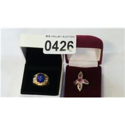 LADIES DINNER RING AND STAR SAPHIRE RING