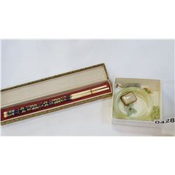 CLOISONNE CHOPSTICKS AND JADE JEWELLRY