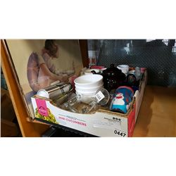 BOX OF KITCHEN ITEMS, BROWN BETTY TEAPOT AND PICTURE