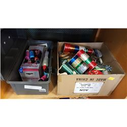 TOOL CASE OF ART SUPPLIES AND BOX OF RIBBON